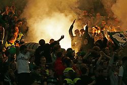 21.09.2010, AWD Arena, Hannover, GER, FBL, Hannover 96 vs Werder Bremen, im Bild Feuerwerk im Block der Werder Bremen Fans EXPA Pictures © 2010, PhotoCredit: EXPA/ nph/  Schrader+++++ ATTENTION - OUT OF GER +++++ / SPORTIDA PHOTO AGENCY