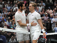 Tennis - 2021 All England Championships - Week One - Day Five (Friday) - Wimbledon<br /> Andy Murray v Denis Shapovalov<br /> <br /> Andy Murray congratulates Denis Shapovalov at the net after defeat<br /> <br /> <br /> CreditCOLORSPORT/Andrew Cowie