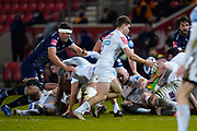 Sale Sharks flanker Jono Ross lines up a hit on Exeter Chiefs scrum-half Jack Maunder during a Gallagher Premiership Round 11 Rugby Union match, Friday, Feb 26, 2021, in Eccles, United Kingdom. (Steve Flynn/Image of Sport)
