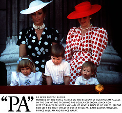 PA NEWS PHOTO 14/6/86 MEMBERS OF THE ROYAL FAMILY ON THE BALCONY OF BUCKINGHAM PALACE ON THE DAY OF THE TROOPING THE COLOUR CEREMONY. (BACK ROW LEFT TO RIGHT) PRINCESS MICHAEL OF KENT, PRINCESS OF WALES. (FRONT ROW LEFT TO RIGHT) MASTER PETER PHILLIPS, LADY DAVINA WINDSOR, PRINCE WILLIAM AND PRINCE HARRY.