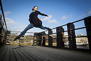 Picture from the Actual Size Dance Company photo shoot on the South Bank, London, with Vasanthi Argouin, Rosa Manzi Read, Nicole Yiannaka and Louis Perry. Photography by Andrew Tobin / Tobinators Ltd http://tobinators.com