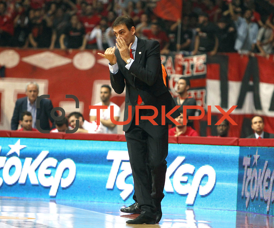 Olympiacos's coach Giorgos Bartzokas during their Turkish Airlines Euroleague Basketball playoffs Game 5 Olympiacos between Anadolu Efes at SEF Indoor Hall in Piraeus, in Greece, Friday, April 26, 2013. Photo by TURKPIX