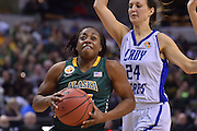 April 4, 2016; Indianapolis, Ind.; Keiahnna Engel drives to the basket in the NCAA Division II Women's Basketball National Championship game at Bankers Life Fieldhouse between UAA and Lubbock Christian. The Seawolves lost to the Lady Chaps 78-73.