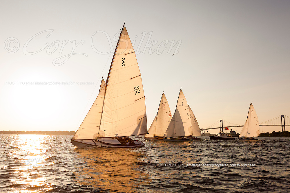 Argument sailing in the Herreshoff S Class division of the Newport Yacht Club Tuesday night racing series.