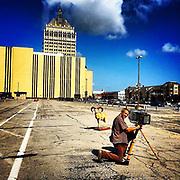 """Modern Industry"" photo shoot at the Kodak ""Hawkeye"" building. This was where the Kodak camera lenses were made."