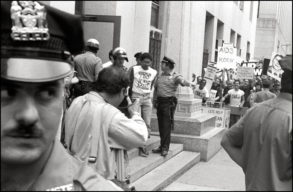 Ortiz Alderson was arrested after several ACT UP members staged a sit-in in the offices of Stephen Joseph, the New York City Commissioner of Health,  as others demonstrated outside, after Joseph had suddenly halved the number of estimated AIDS cases in NYC, on July 19th, 1988 - a move that threatened to drastically reduce funding for AIDS services.