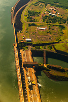 Aerial view of the Itaipu Dam and hydroelectric power plant on the Parana River, near Foz do Iguacu, Brazil. It is run jointly by Brazil and Paraguay.