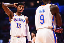 October 19, 2018 - Los Angeles, CA, U.S. - LOS ANGELES, CA - OCTOBER 19: Oklahoma City Thunder Forward Paul George (13) looks on during a NBA game between the Oklahoma City Thunder and the Los Angeles Clippers on October 19, 2018 at STAPLES Center in Los Angeles, CA. (Credit Image: © Brian Rothmuller/Icon SMI via ZUMA Press)