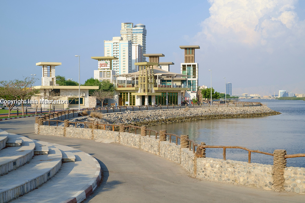Modern public pavilion buildings and skyline on Corniche in Ras al Khaimah  (RAK) emirate in United Arab Emirates