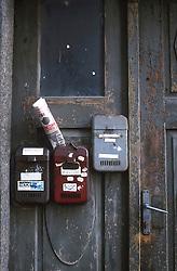 CZECH REPUBLIC SOUTHERN BOHEMIA TABOR MAR00 - Letterboxes on an old door in the centre of Tabor, the medeival Hussite city in southern Bohemia. . . jre/Photo by Jiri Rezac. . © Jiri Rezac 2000. . Tel:   +44 (0) 7050 110 417. Email: info@jirirezac.com. Web:   www.jirirezac.com