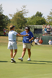 04 Sep 2005<br /> <br /> Kim Williams approaches Pat Hurst to give congratulations.<br /> <br /> LPGA State Farm Classic.  The Rail Golf Course, Springfield (Sherman) Illinois