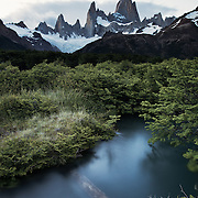 The peaks of Cerro Poincenot and Fitz Roy in Patagonia, Argentina.