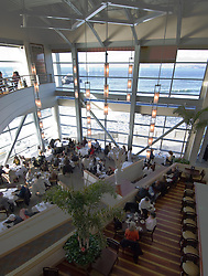 California, San Francisco: Diners at the Cliff House restaurant and the view of Seal Rock..Photo #: 9-casanf75869.Photo © Lee Foster 2008