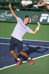 March 7, 2019 - Indian Wells, CA, U.S. - INDIAN WELLS, CA - MARCH 07: Yoshihito Nishioka (JPN) serves during the BNP Paribas Open on March 7, 2019 at Indian Wells Tennis Garden in Indian Wells, CA. (Photo by George Walker/Icon Sportswire) (Credit Image: © George Walker/Icon SMI via ZUMA Press)