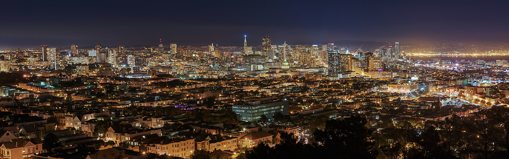 The San Francisco skyline is seen at night from Corona Heights in the Upper Terrace. San Francisco, CA