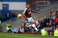 Andre Gray of Burnley tries to keep the ball in play. Skybet football league Championship match, Burnley v Huddersfield Town at Turf Moor in Burnley ,Lancs on Saturday 31st October 2015.<br /> pic by Chris Stading, Andrew Orchard sports photography.
