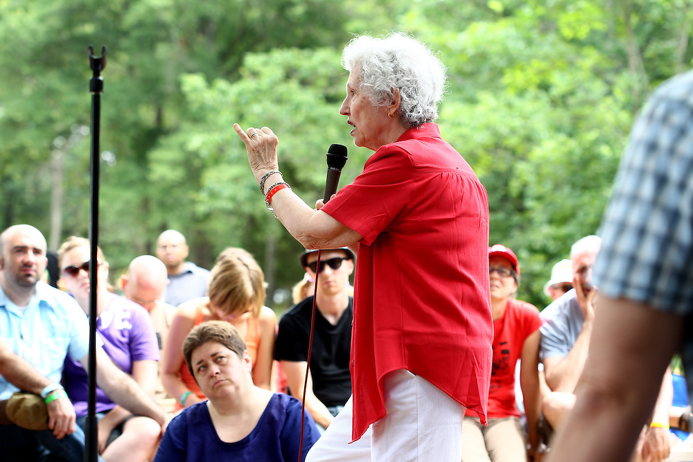 Phyllis Tickle participates in a panel discussion on sexuality and justice at the Wild Goose Festival at Shakori Hills in North Carolina June 25, 2011.  (Photo by Courtney Perry)