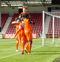 Dundee United's players cele Dundee United's Tony Andrue (19) scoring their second goal. Dunfermline 1 v 3 Dundee United, Scottish Championship game played 10/9/2016 at East End Park.