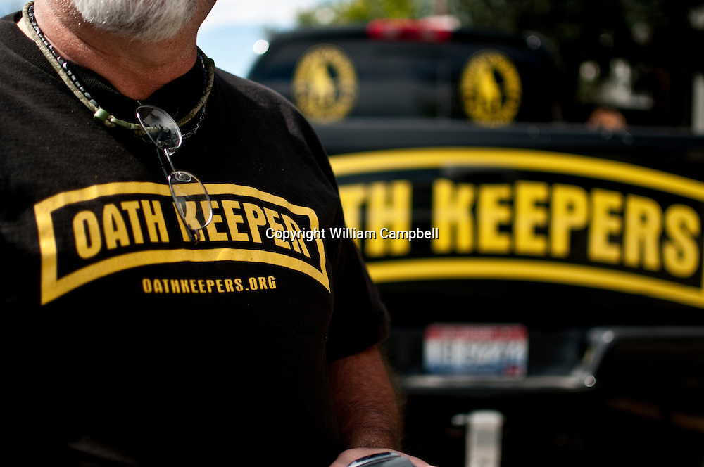 """An Oath Keeper from Idaho in Bozeman, Montana. The """"Oath Keepers"""" are a national, ultra-rightwing """"Patriot"""" group comprised of former and active military, police and public safety personnel who have taken an oath to """"uphold the Constitution"""" and to refuse to follow orders that they decide are unconstitutional."""