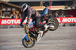 Stunters performed several times a day during the Motor Bike Expo. Verona, Italy. January 22, 2016.  Photography ©2016 Michael Lichter.
