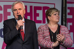 London, UK. 19 October, 2019. John McDonnell, Shadow Chancellor, seen here with Shadow Foreign Secretary Emily Thornberry, addresses hundreds of thousands of pro-EU citizens at a Together for the Final Say People's Vote rally in Parliament Square as MPs meet in a 'super Saturday' Commons session, the first such sitting since the Falklands conflict, to vote, subject to the Sir Oliver Letwin amendment, on the Brexit deal negotiated by Prime Minister Boris Johnson with the European Union.