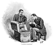 The Adventure of the Musgrave Ritual':  Dr Watson watching Sherlock Holmes going through the mememtoes of his old cases. Illustration by Sidney E. Paget, the first artist to create an image of Sherlock Holmes, for the story published in 'The Strand Magazine', London, 1893.