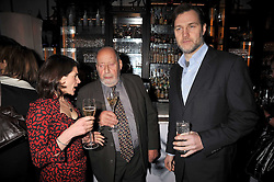 Left to right, ESTHER FREUD, SIR CLEMENT FREUD and DAVID MORRISSEY at a party to celebrate the publication of 'In Bed With' held at the Artesian Bar,The Langham Hotel, 1c Portland Placeon 11th February 2009.
