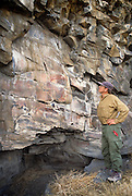 "Photographer and curator Terry Toedtemeier stands next to a gallary of complex pictographs with petroglyohs, estimated to be 2000 - 3000 years old in the Columbia River Gorge National Scenic Area. Native people who live in the area refer to the creators of the rock art in the Columbia River area as the ""River People"". Much of the original rock art in the area has been flooded by hydro projects or vandalized, but there remain some prinstine examples in out of the way areas."