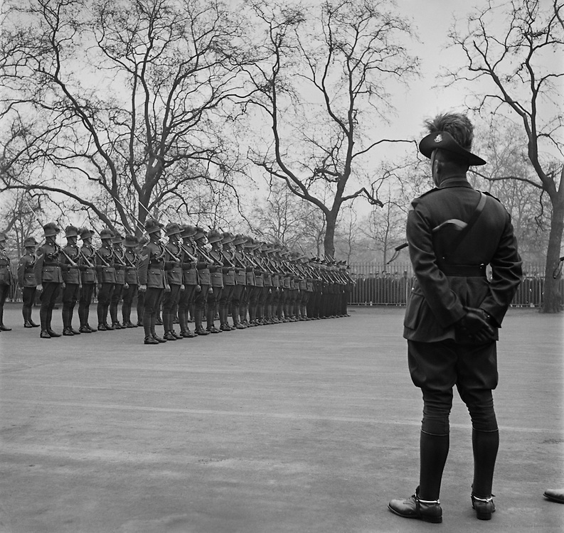 Australian Soldiers on Parade at Wellington Barracks, London, England, 1937