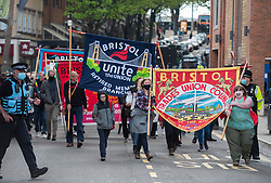 © Licensed to London News Pictures; 01/05/2021; Bristol, UK. The annual MayDay trade union march and rally for workers rights takes place through the city centre, organised by the Bristol Trades Union Council together with the Labour Party and the Co-Op. A small number of Kill the Bill protesters joined the rally, after it was announced on social media that the Bristol Kill the Bill protest scheduled for 6pm had been changed to 12 noon. Photo credit: Simon Chapman/LNP.