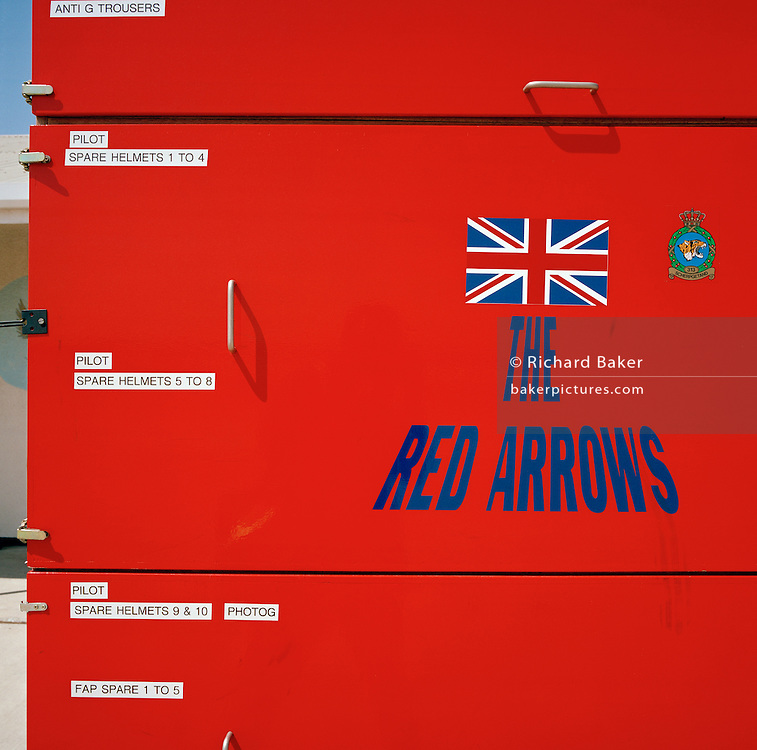Flight spare for the 'Red Arrows', Britain's Royal Air Force aerobatic team while on secondment in Cyprus for training.