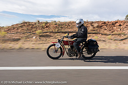 Joe Gimpel of Florida riding his Class-1 single-cylinder single-speed 1913 Thor during the Motorcycle Cannonball Race of the Century. Stage-12 ride from Page, AZ to Williams, AZ. USA. Thursday September 22, 2016. Photography ©2016 Michael Lichter.