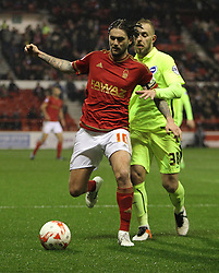Henri Lansbury of Nottingham Forest (L) and Jiri Skalak of Brighton & Hove Albion in action - Mandatory by-line: Jack Phillips/JMP - 11/04/2016 - FOOTBALL - City Ground - Nottingham, England - Nottingham Forest v Brighton and Hove Albion - Sky Bet Championship