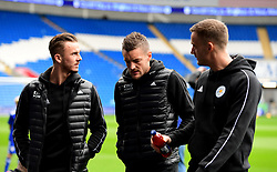 Leicester City's Jamie Vardy (centre), James Maddison (left) and Andy King (right) on the pitch before kick-off during the Premier League match at the Cardiff City Stadium, Cardiff.