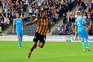 Hull City striker Abel Hernandez (10) scores a goal to make the score 3-1 and celebrates during the EFL Sky Bet Championship match between Hull City and Burton Albion at the KCOM Stadium, Kingston upon Hull, England on 12 August 2017. Photo by Richard Holmes.