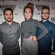 Director Janic Halioua, Singer Blanka Inauen and Producer Al Hug of Len Sander attend World Premiere of Team Khan - Raindance Film Festival 2018 at Vue Cinemas - Piccadilly, London, UK. 29 September 2018.