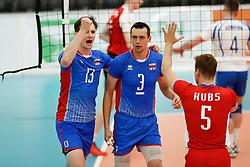20170525 NED: 2018 FIVB Volleyball World Championship qualification, Koog aan de Zaan<br />Stefan Jr Chrtiansky (13) of Slovakia, Emanuel Kohut (3) of Slovakia <br />©2017-FotoHoogendoorn.nl / Pim Waslander