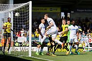 Leeds United striker Chris Wood (9) scores a goal 1-0 but it is disallowed during the EFL Sky Bet Championship match between Burton Albion and Leeds United at the Pirelli Stadium, Burton upon Trent, England on 22 April 2017. Photo by Richard Holmes.