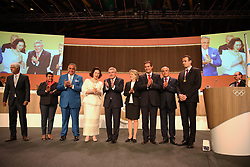 LIMA, Sept. 16, 2017  International Olympic Committee (IOC) President Thomas Bach (C) claps with eight new IOC members during the 131st IOC session in Lima, Peru, on Sept. 15, 2017. The 131st IOC session concluded on Friday. (Credit Image: © Li Ming/Xinhua via ZUMA Wire)