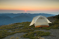 Sunset on backcountry campsite on Skyline Divide, Mount Baker Wilderness, North Cascades Washington