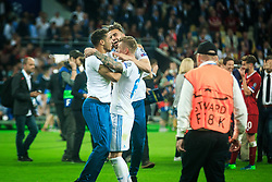 Toni Kroos of Real Madrid and other players celebrate after they won 3-1 during the UEFA Champions League final football match between Liverpool and Real Madrid and became Champions League  2018 Champions third time in a row at the Olympic Stadium in Kiev, Ukraine on May 26, 2018.Photo by Sandi Fiser / Sportida