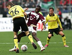 07.11.2010, AWD Arena, Hannover, GER, 1.FBL, Hannover 96 vs Borussia Dortmund,im Bild Lukasz Piszczek (Dortmund #26) und Constant Djakpa (Hannover #15) EXPA Pictures © 2010, PhotoCredit: EXPA/ nph/  Schrader+++++ ATTENTION - OUT OF GER +++++