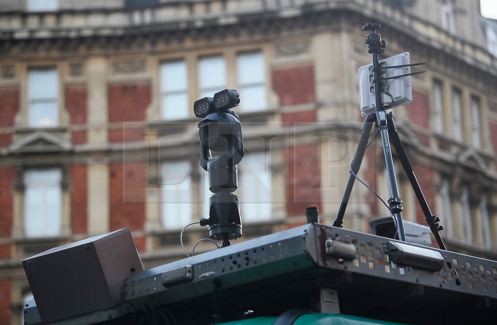 © Licensed to London News Pictures. 17/12/2018. London, UK.  Cameras mounted on a surveillance van as members of the Metropolitan police trial facial recognition technology on members of the public in central London. The surveillance software is being used overtly with a uniformed presence. Privacy campaigners have expressed concerns about the use of the technology. Photo credit: Ben Cawthra/LNP