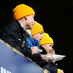 TELFORD COPYRIGHT MIKE SHERIDAN Young Boston fans  during the Vanarama Conference North fixture between Boston and AFC Telford United at the Jakemans Stadium, York Street on Saturday, February 22, 2020.<br /> <br /> Picture credit: Mike Sheridan/Ultrapress<br /> <br /> MS201920-047