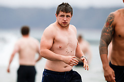 Jason Harris-Wright looks on as Bristol Rugby take part in a morning after game recovery session in the sea - Rogan/JMP - 29/10/2017 - RUGBY UNION - Jersey Marine Lake - St Helier, Jersey - Jersey Reds v Bristol Rugby - Greene King IPA Championship.