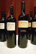 Bottles of Septima Mendoza 2004 Malbec, and Reserva 2002 from Codorniu Mendoza. The Oviedo Restaurant, Buenos Aires Argentina, South America