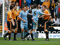 Photo: Steve Bond.<br />Wolverhampton Wanderers v Coventry City. Coca Cola Championship. 06/10/2007. Keith Stroud (ref) tries to maintain order