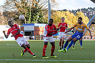 CJ Hamilton of Mansfield Town (22) strikes a volley at goal during the The FA Cup match between Mansfield Town and Charlton Athletic at the One Call Stadium, Mansfield, England on 11 November 2018.