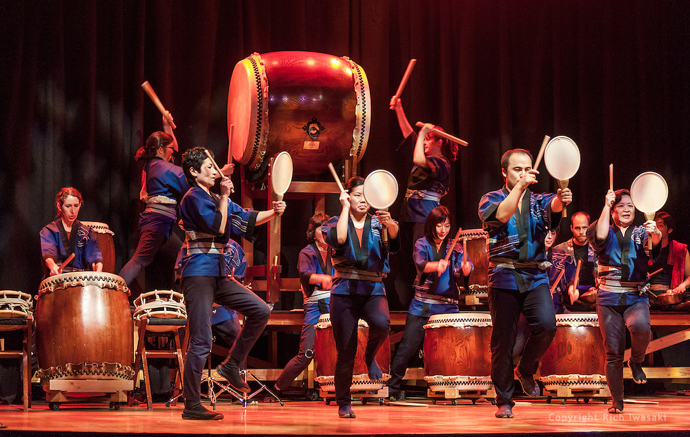 """Members of Portland Taiko perform during """"Making Waves 2013"""" concert, Aladdin Theater, Portland, Oregon"""