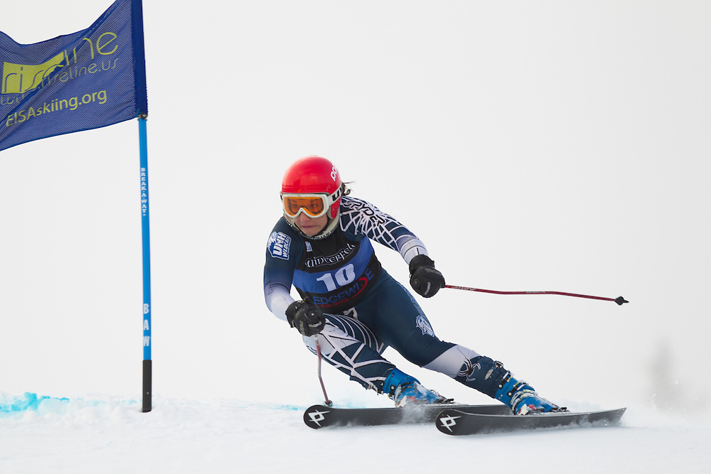 Jenna Kantor of the University of New Hampshire, skis during the first run of the women's giant slalom at the Colby College Carnival at Sugarloaf Mountain on January 17, 2014 in Carabassett Valley, ME. (Dustin Satloff/EISA)